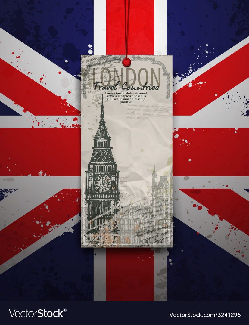 Big ben tower london landmark hand-drawn sketch vector | Price: 1 Credit (USD $1)