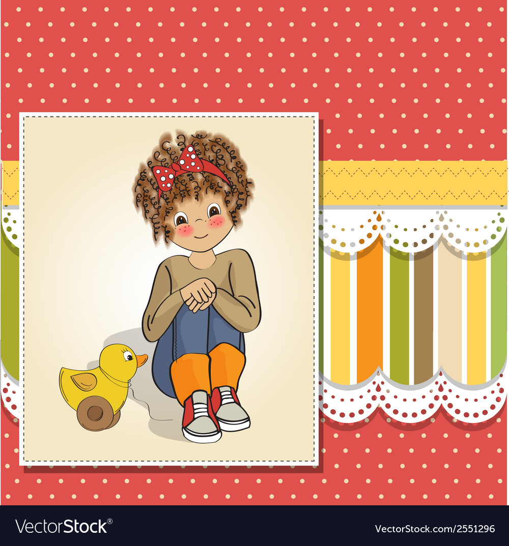 Curly girl play with her duck toy vector | Price: 1 Credit (USD $1)