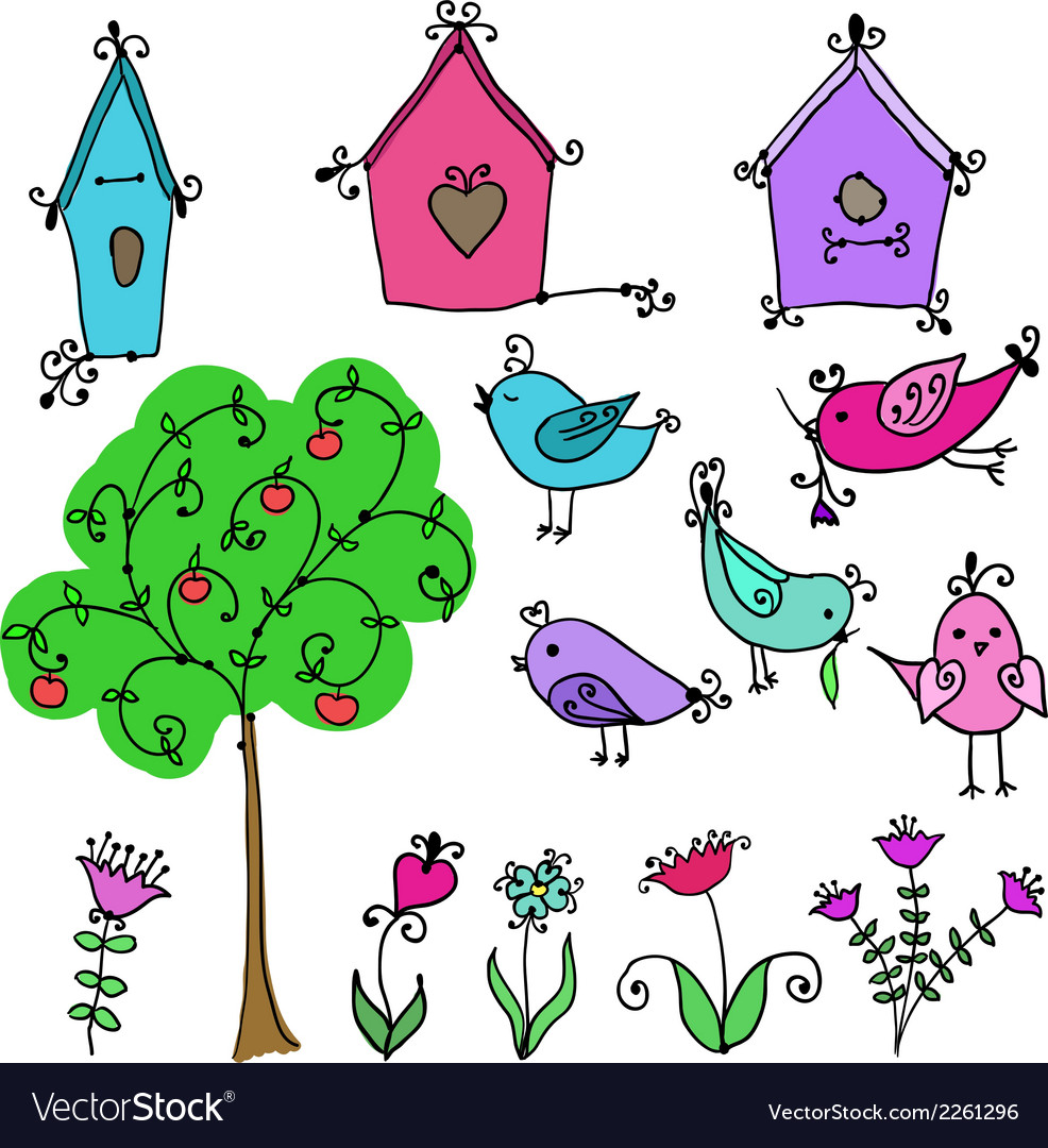 Cute birds tree and and birds nesting boxes vector | Price: 1 Credit (USD $1)