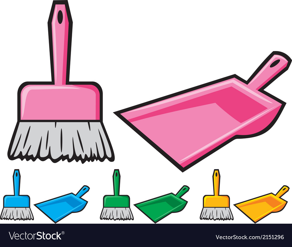Dustpan and sweeping brush vector | Price: 1 Credit (USD $1)