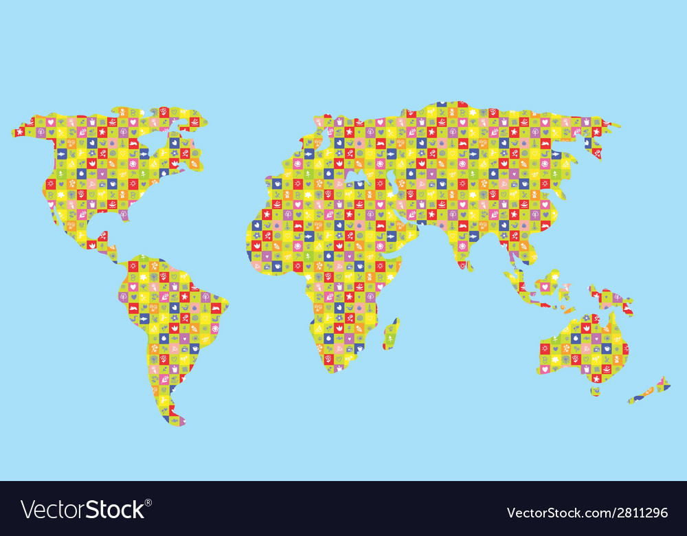 Funny world map for kids vector | Price: 1 Credit (USD $1)