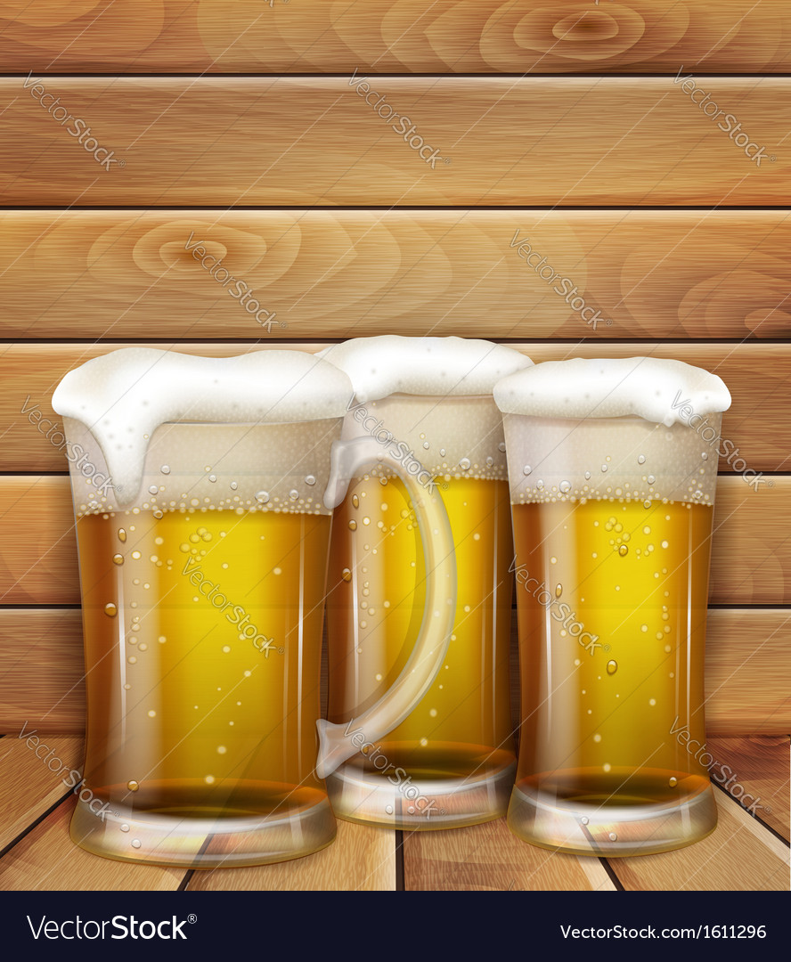 Glasses of beer and a wooden background vector | Price: 1 Credit (USD $1)