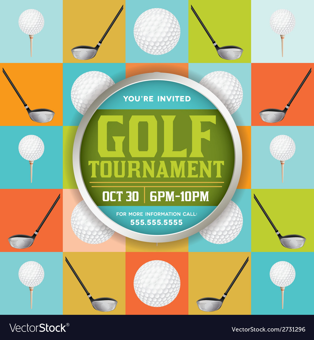 Golf tournament pattern invitation vector | Price: 1 Credit (USD $1)