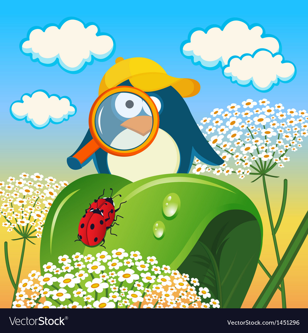 Penguin is studying insects vector | Price: 1 Credit (USD $1)