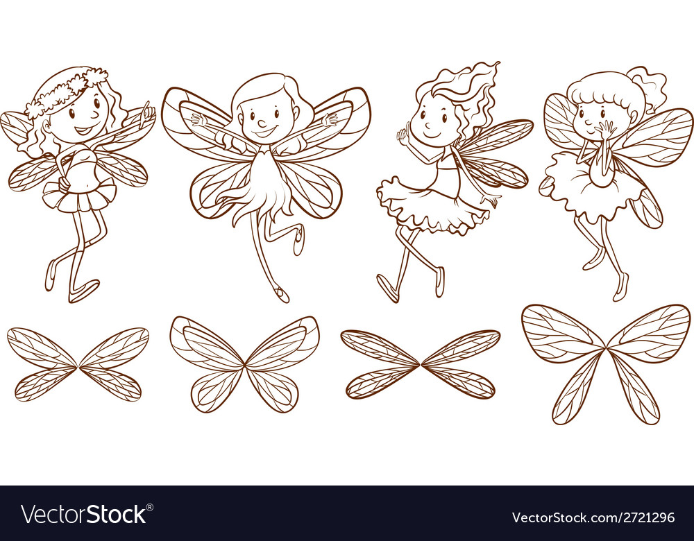 Simple sketches of a fairy vector | Price: 1 Credit (USD $1)