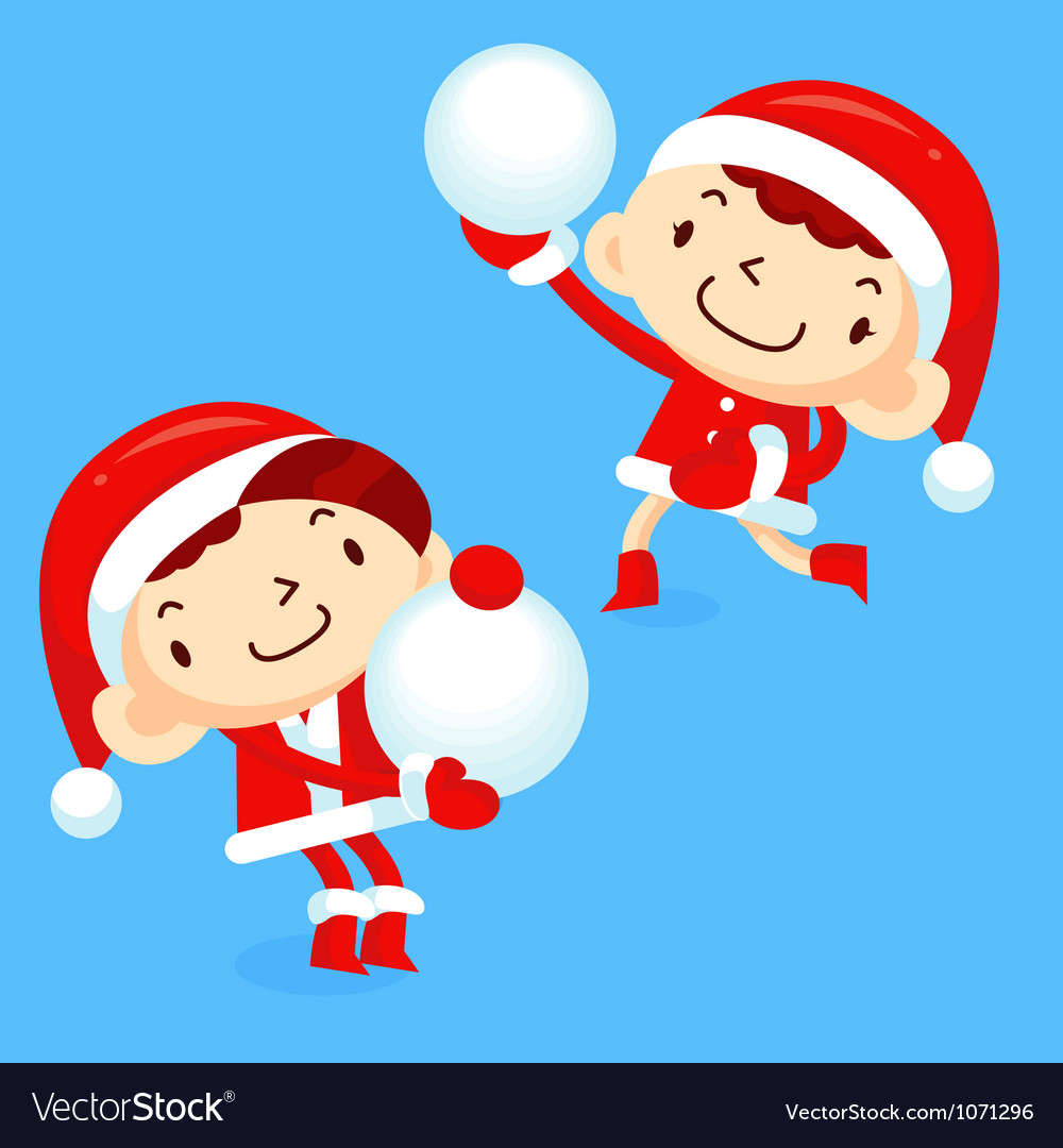 Snowball fight to play boys and girls vector | Price: 1 Credit (USD $1)