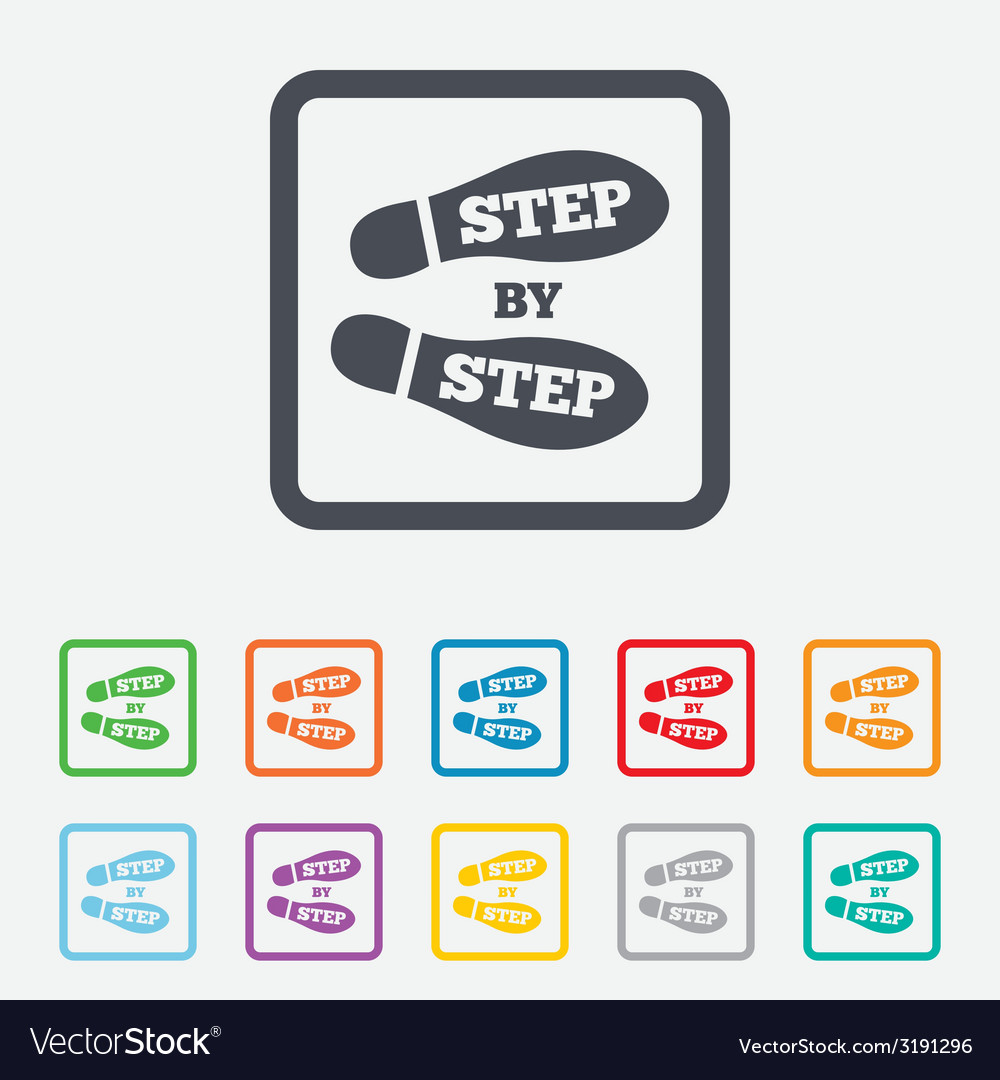 Step by step sign icon footprint shoes symbol vector | Price: 1 Credit (USD $1)