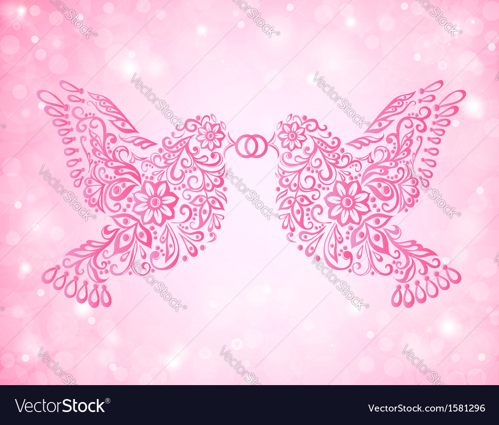 Two birds have a ring in its beak wedding card vector | Price: 1 Credit (USD $1)