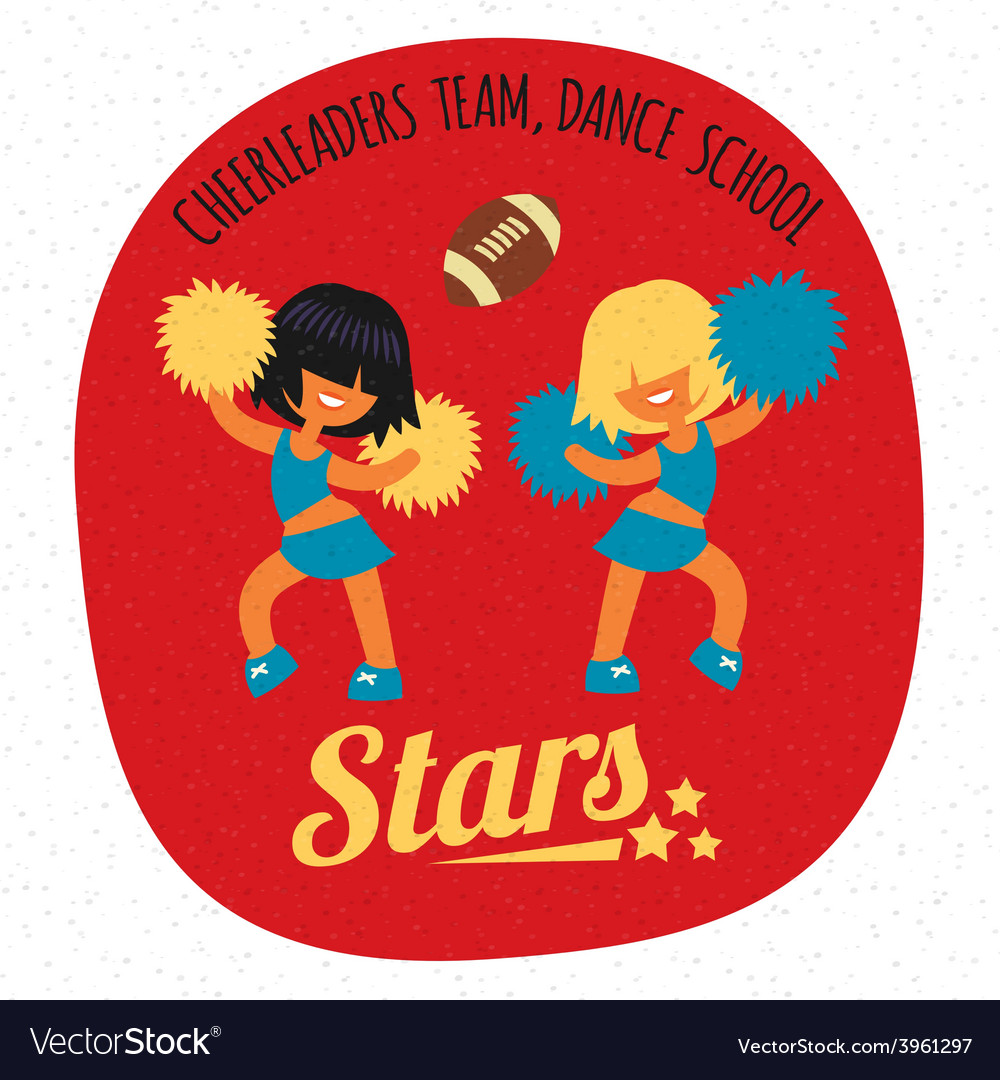 Cheerleader girls team dancing with poms vector | Price: 1 Credit (USD $1)