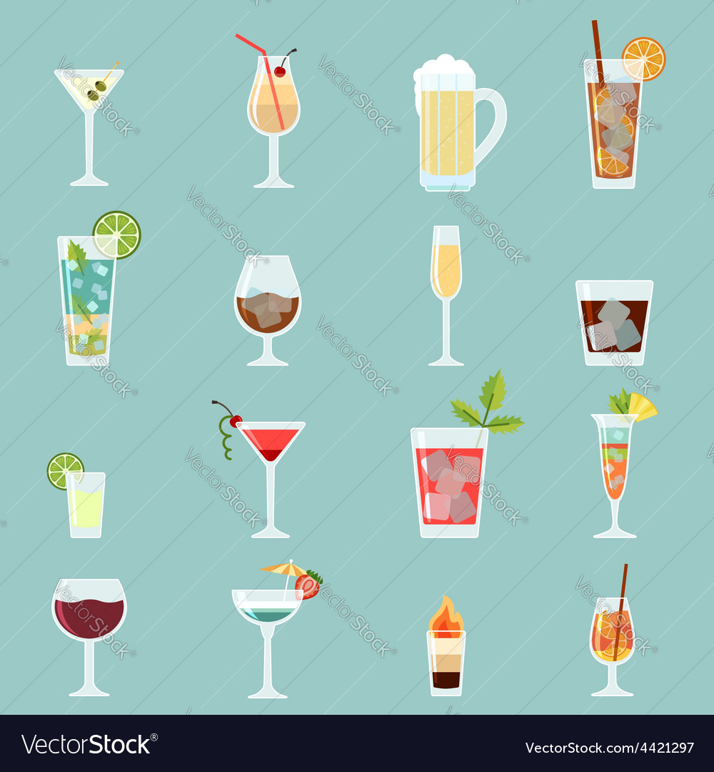 Cocktails icon set vector | Price: 1 Credit (USD $1)