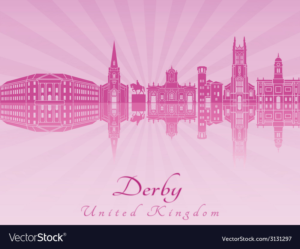 Derby skyline in purple radiant orchid vector | Price: 1 Credit (USD $1)