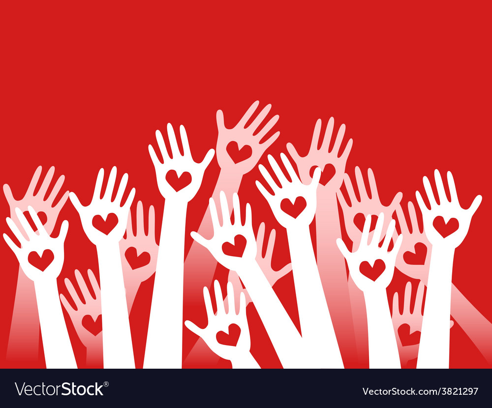 Hands raised with hearts vector | Price: 1 Credit (USD $1)