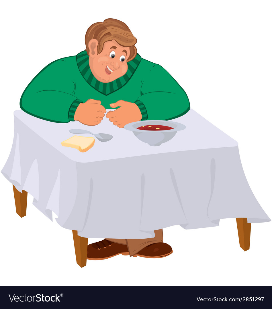 Happy cartoon man sitting with soup at the table vector | Price: 1 Credit (USD $1)