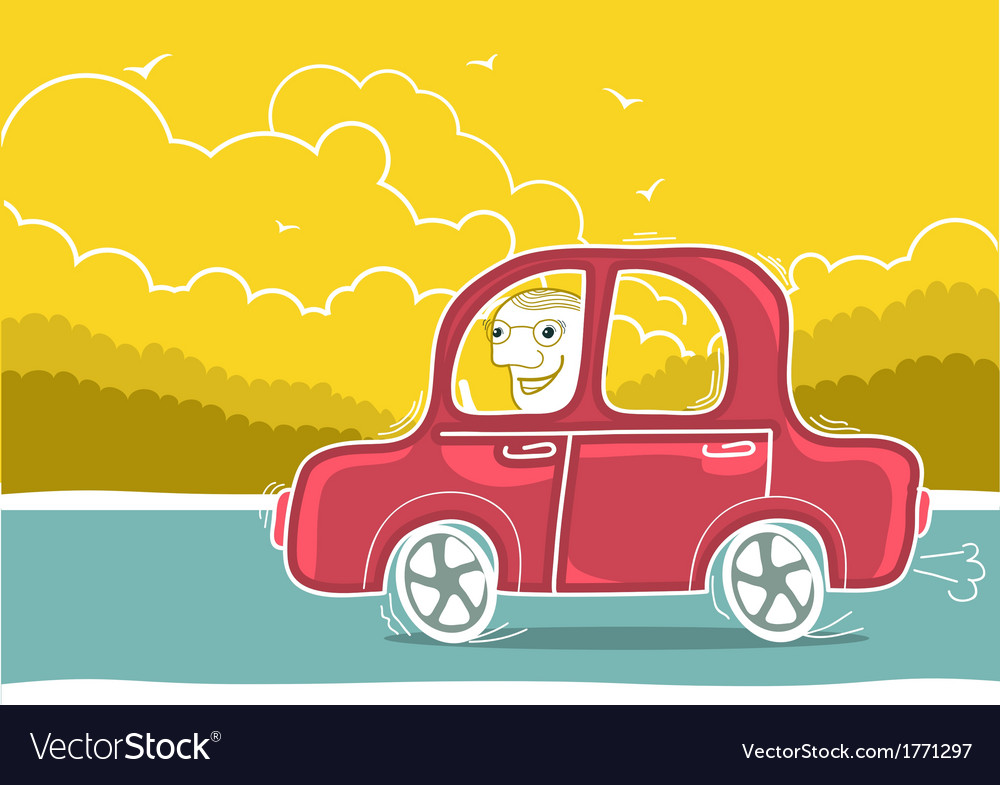 Happy man driving by car nature landscape vector | Price: 1 Credit (USD $1)
