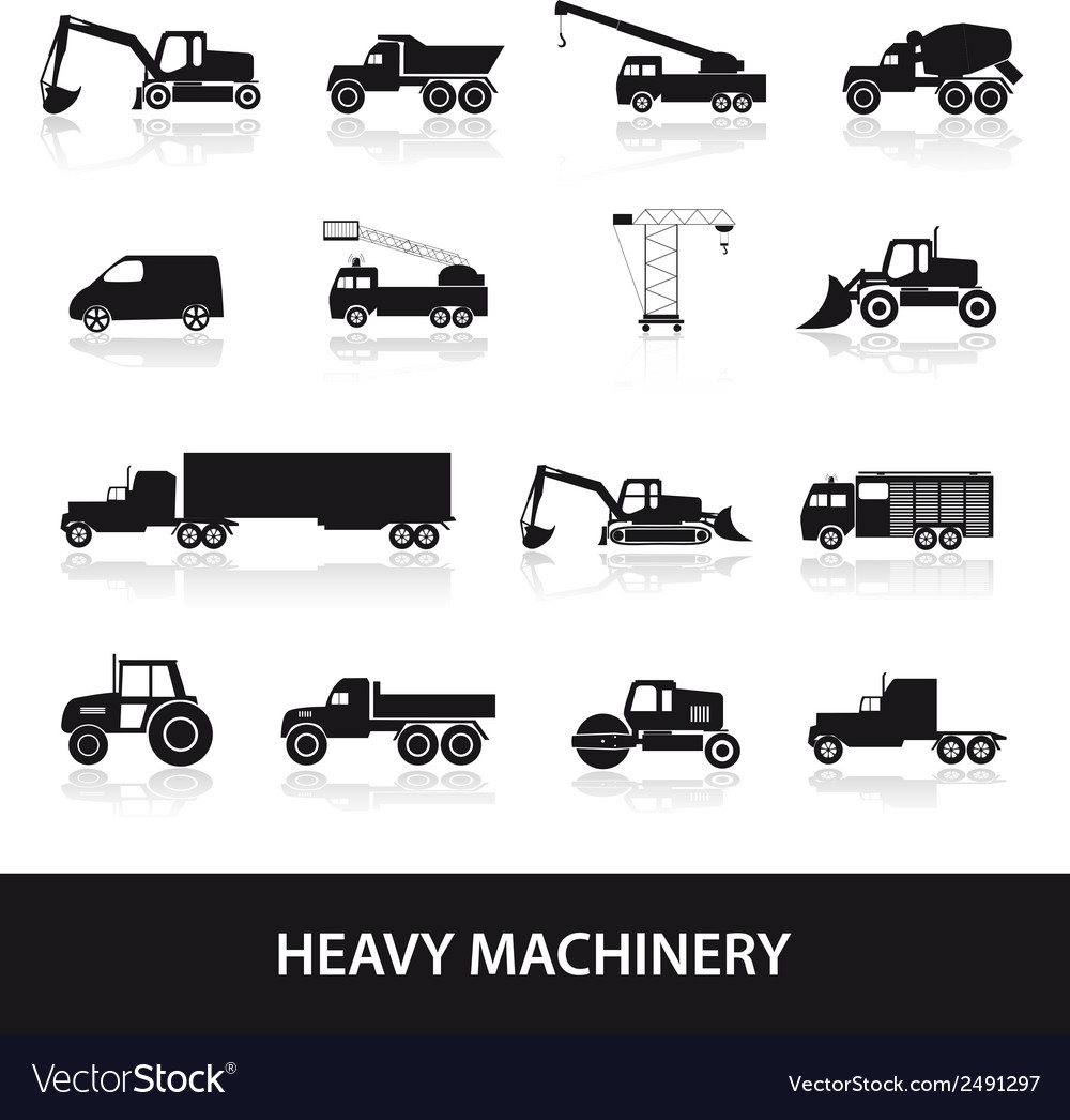 Heavy machinery icons set eps10 vector | Price: 1 Credit (USD $1)