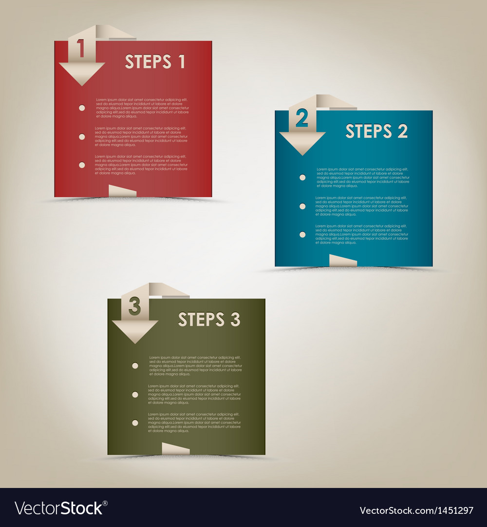 Modern origami steps progress background vector | Price: 1 Credit (USD $1)