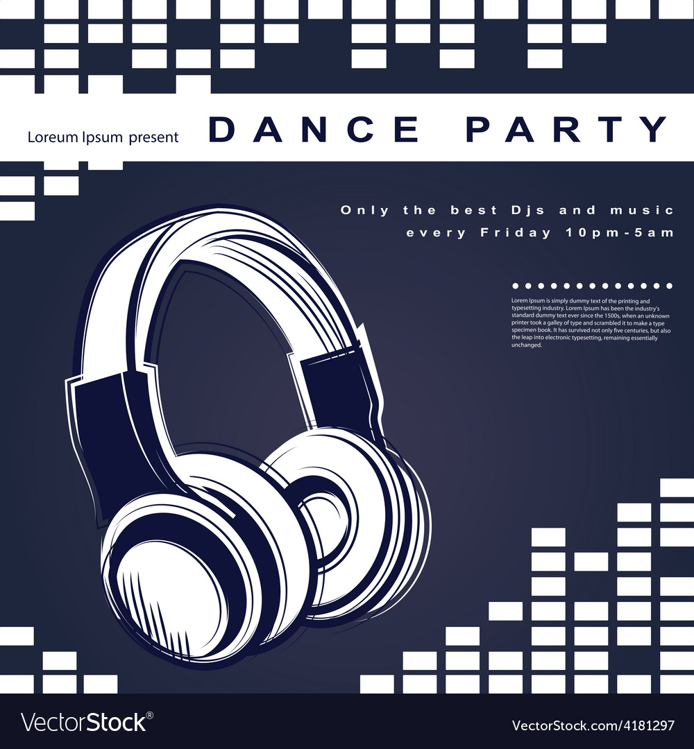 Party poster night club poster vector | Price: 1 Credit (USD $1)
