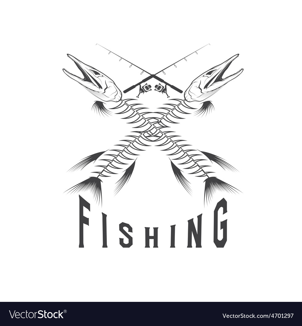 Vintage fishing emblem with skeleton of pike vector | Price: 1 Credit (USD $1)