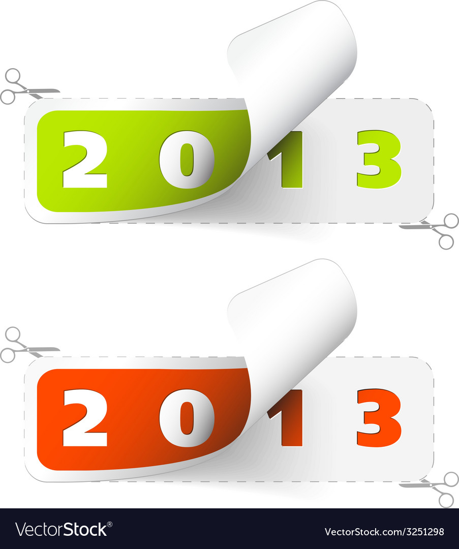 2012 2013 new year stickers vector | Price: 1 Credit (USD $1)