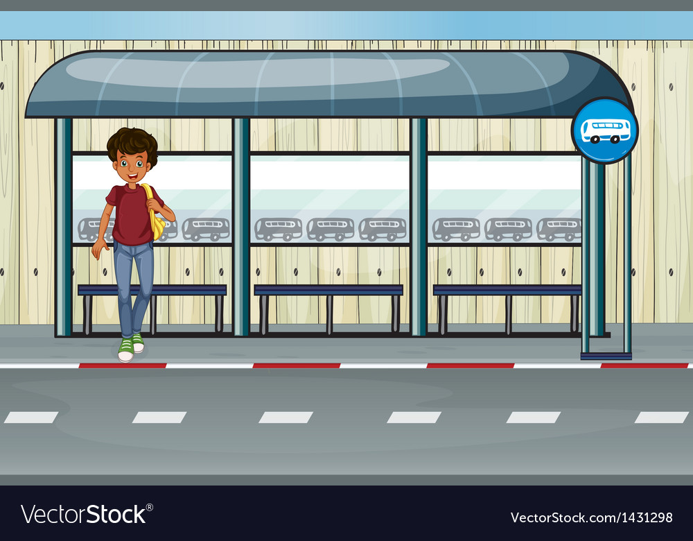 A boy at the bus stop vector | Price: 1 Credit (USD $1)