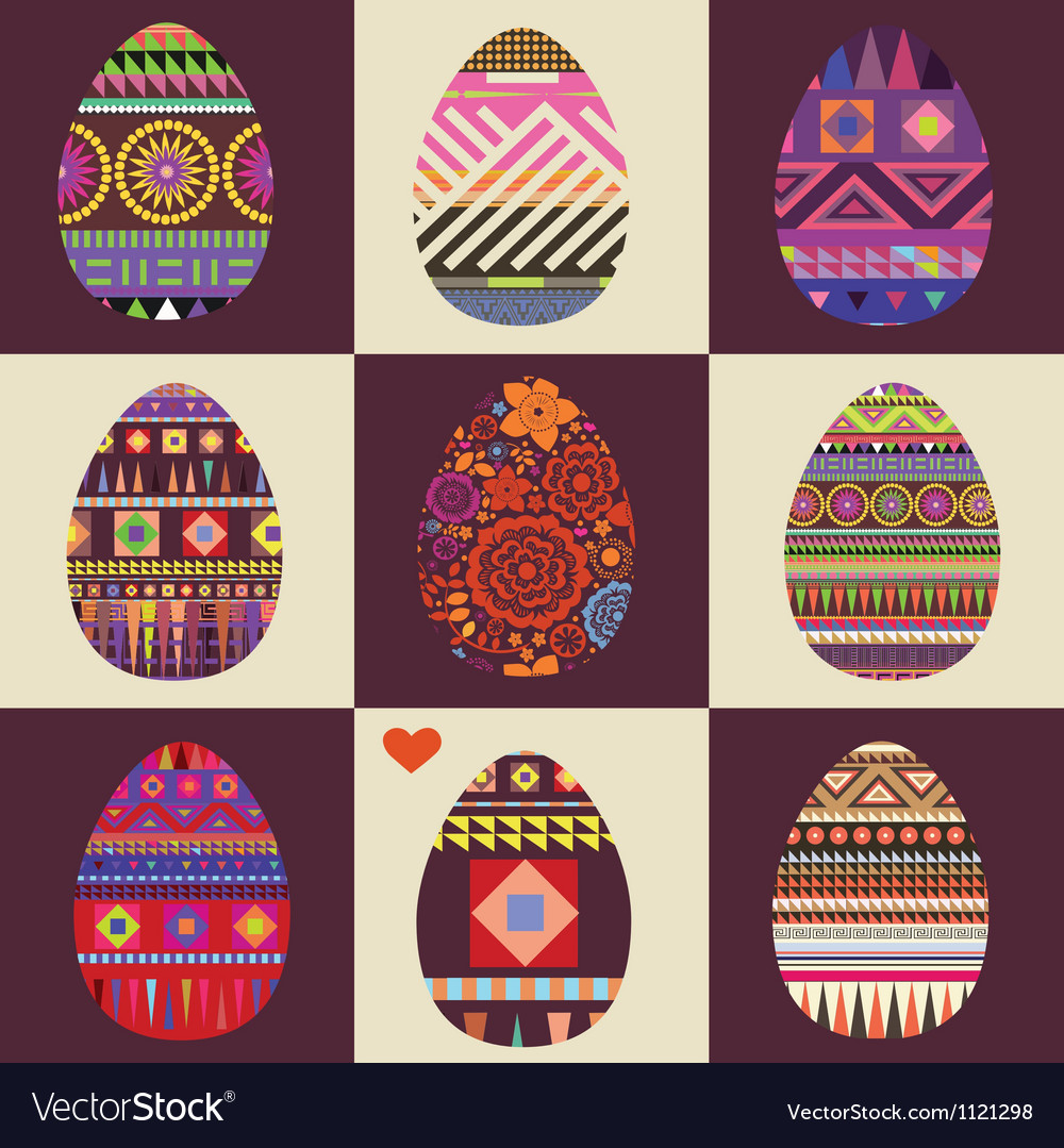 Card with big collection of easter eggs vector | Price: 1 Credit (USD $1)