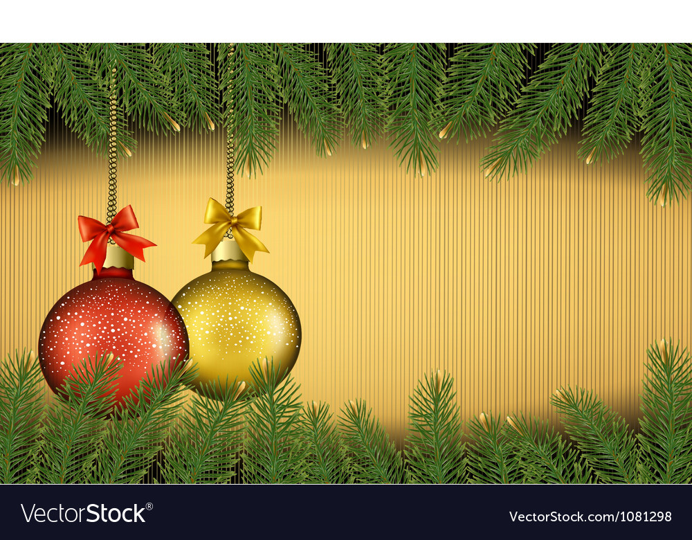 Christmas background with gift balls and fir vector | Price: 1 Credit (USD $1)