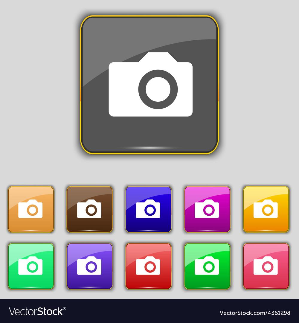 Digital photo camera icon sign set with eleven vector | Price: 1 Credit (USD $1)