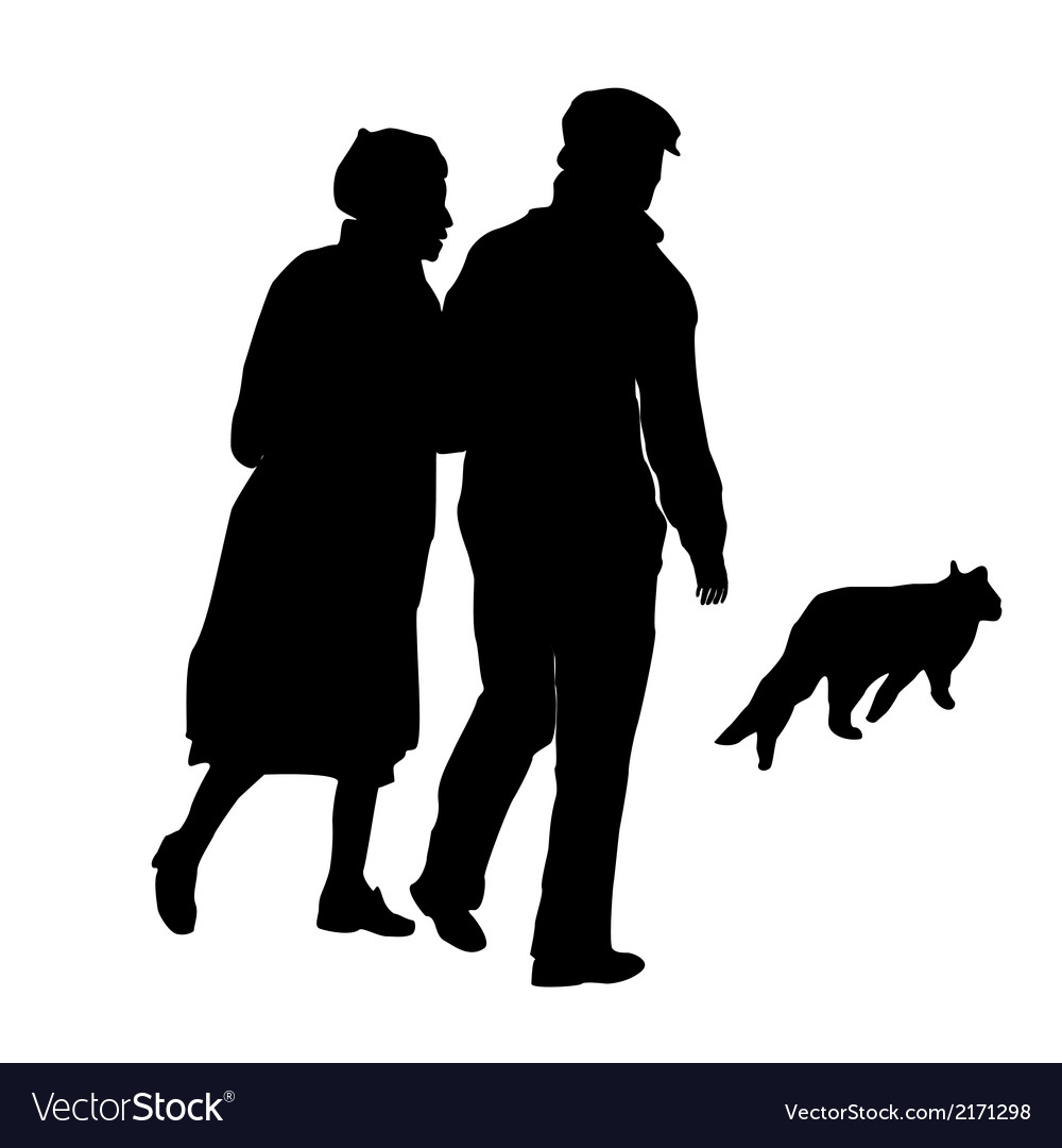 Elderly couple with a cat vector