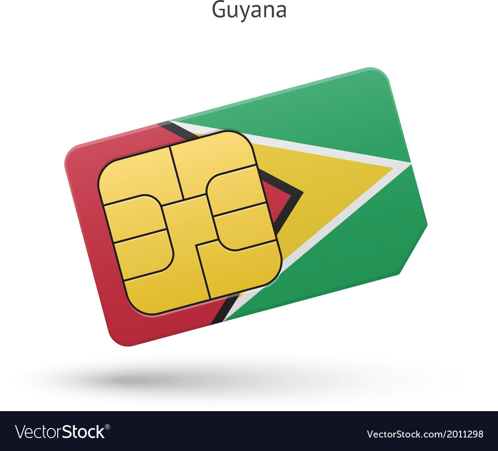 Guyana mobile phone sim card with flag vector | Price: 1 Credit (USD $1)