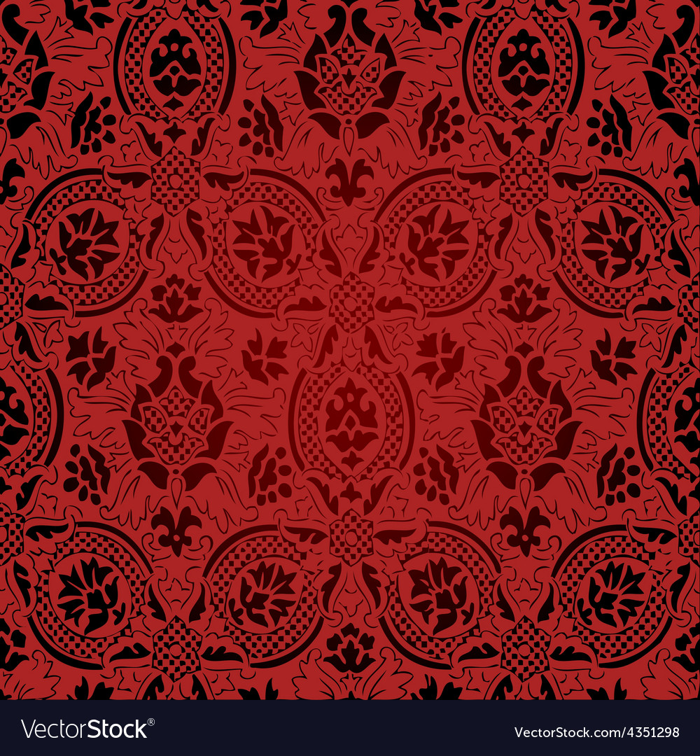 Red and black seamless abstract floral pattern vector | Price: 1 Credit (USD $1)