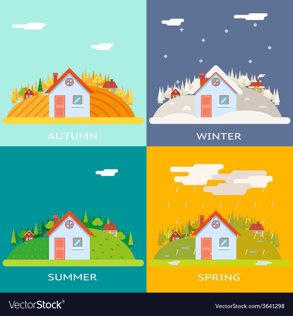 Seasons change autumn winter summer spring village vector | Price: 1 Credit (USD $1)