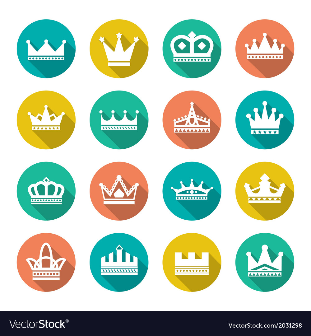 Set flat icons of crown vector | Price: 1 Credit (USD $1)