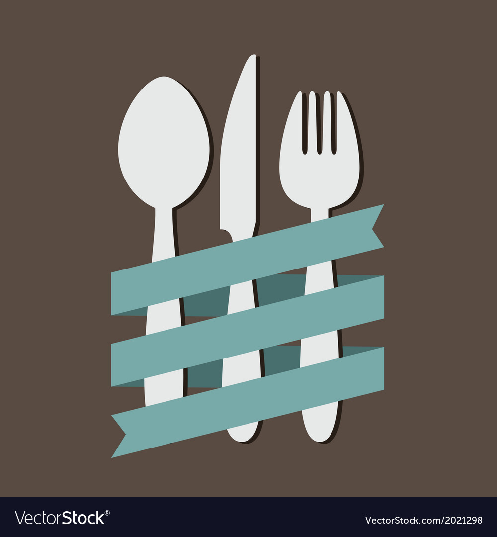 Spoon knife fork with ribbon flat vector | Price: 1 Credit (USD $1)