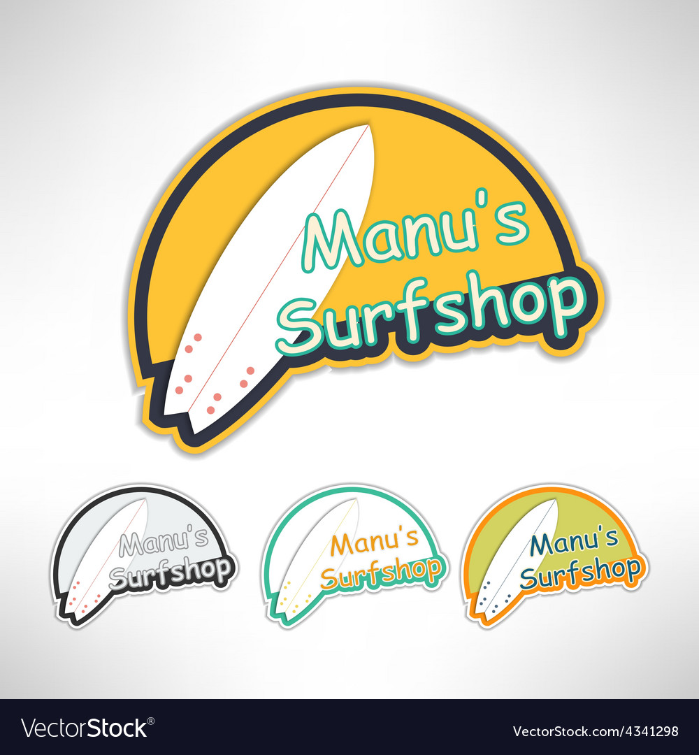 Surfboard label logo or surging shop board t vector | Price: 1 Credit (USD $1)