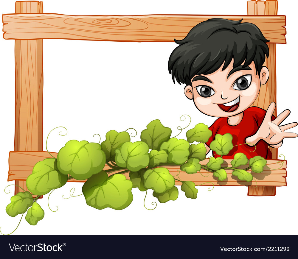 A frame with a plant and a boy vector | Price: 1 Credit (USD $1)