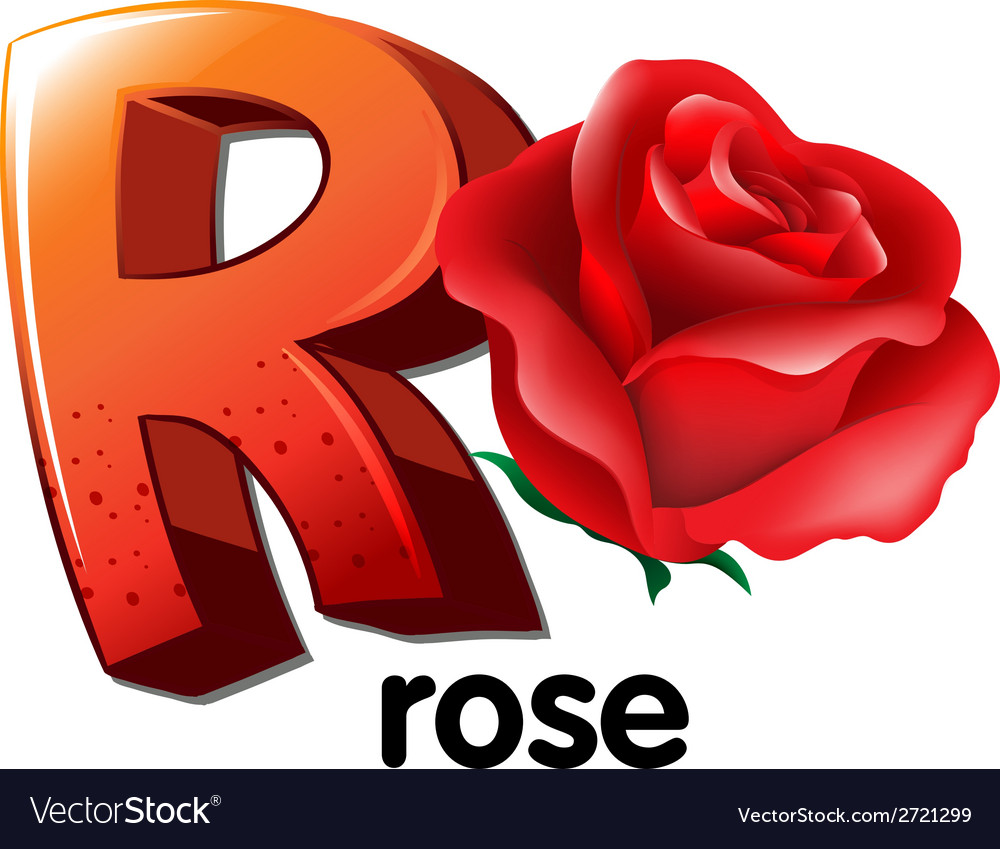 A letter r for rose vector | Price: 1 Credit (USD $1)