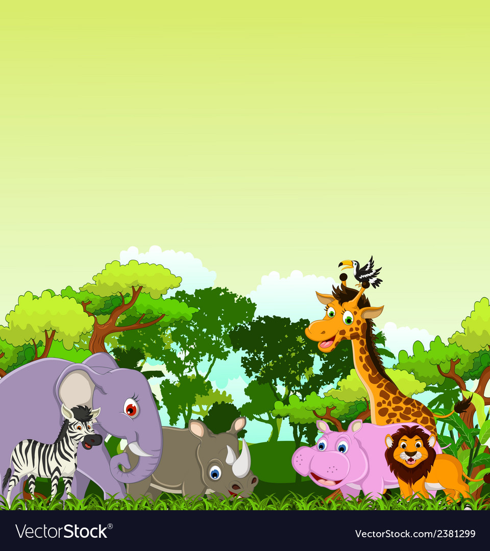 Animal cartoon with tropical forest background vector | Price: 3 Credit (USD $3)