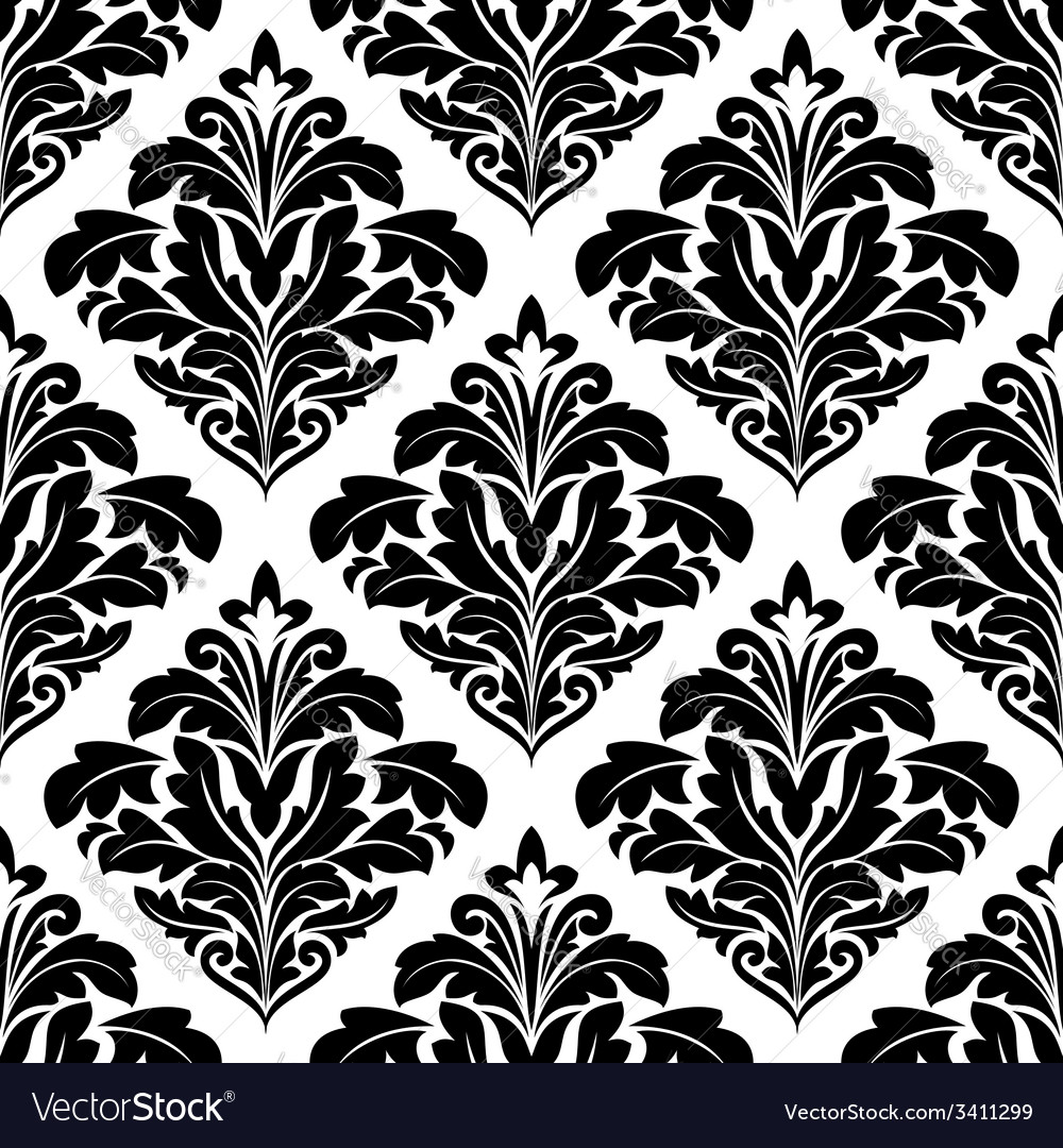 Bold floral arabesque seamless pattern vector | Price: 1 Credit (USD $1)
