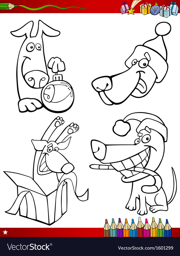 Cartoon christmas themes coloring page vector | Price: 1 Credit (USD $1)
