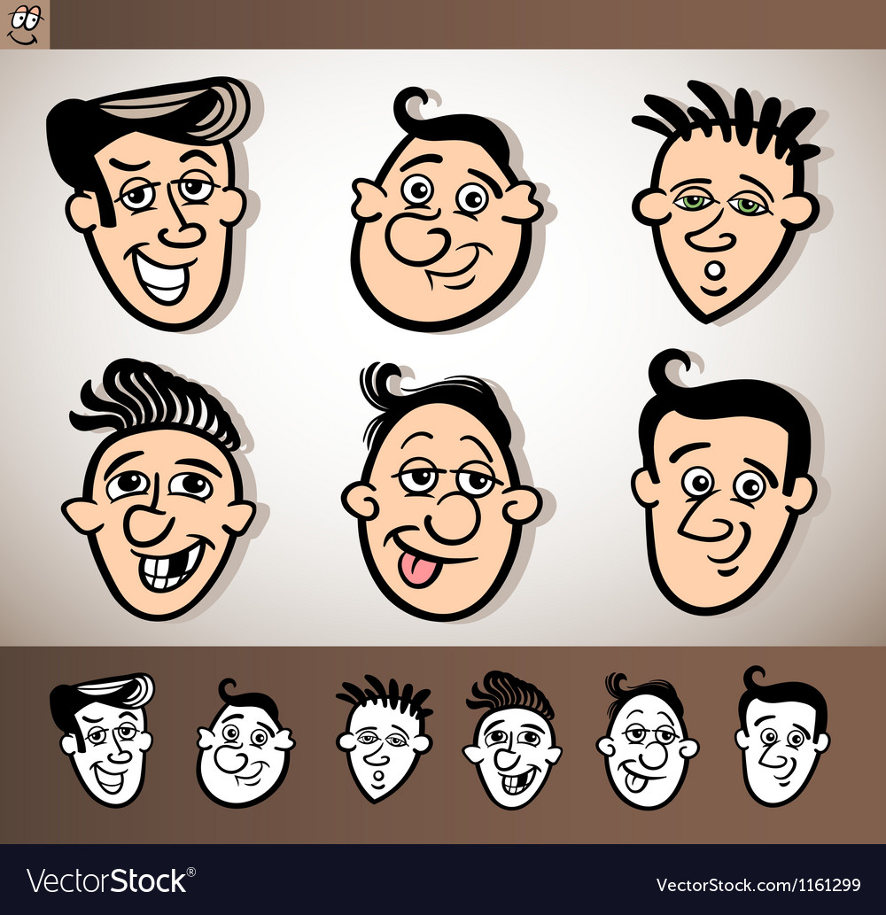 Cartoon men heads set vector | Price: 1 Credit (USD $1)