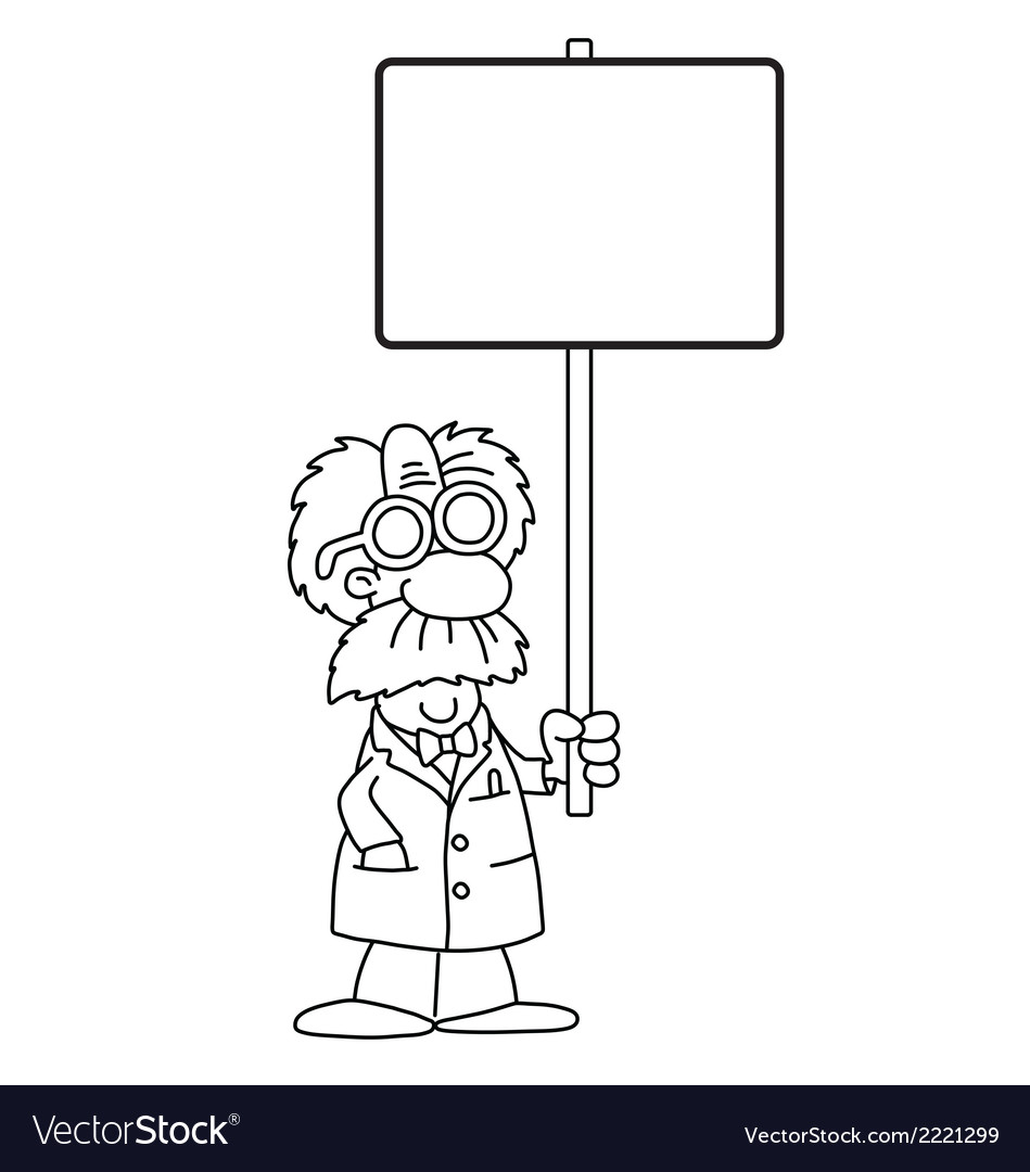 Cartoon scientist with sign vector | Price: 1 Credit (USD $1)
