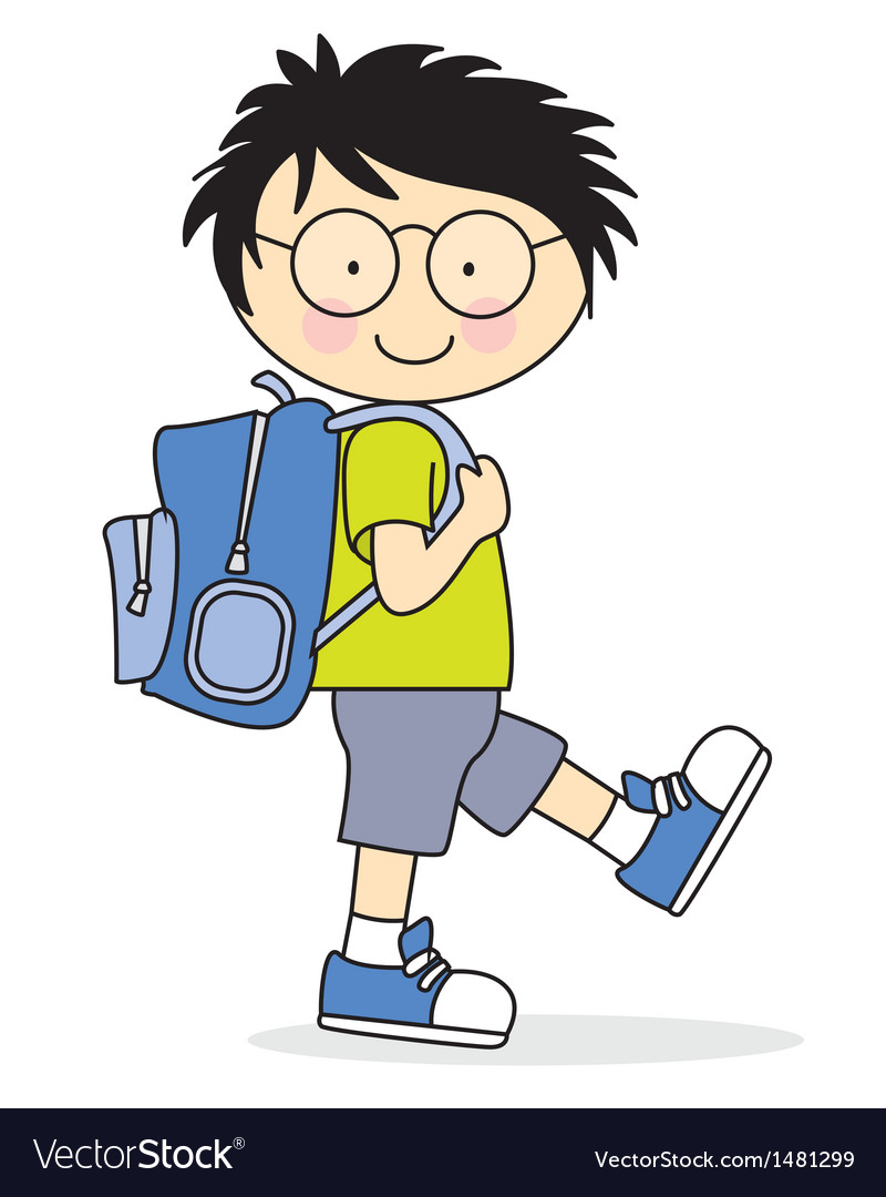 Child who goes to school with a backpack vector | Price: 3 Credit (USD $3)