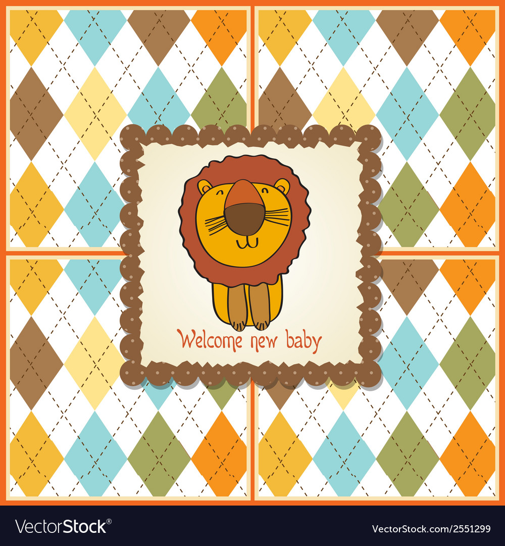 Childish baby shower card with cartoon lion vector | Price: 1 Credit (USD $1)