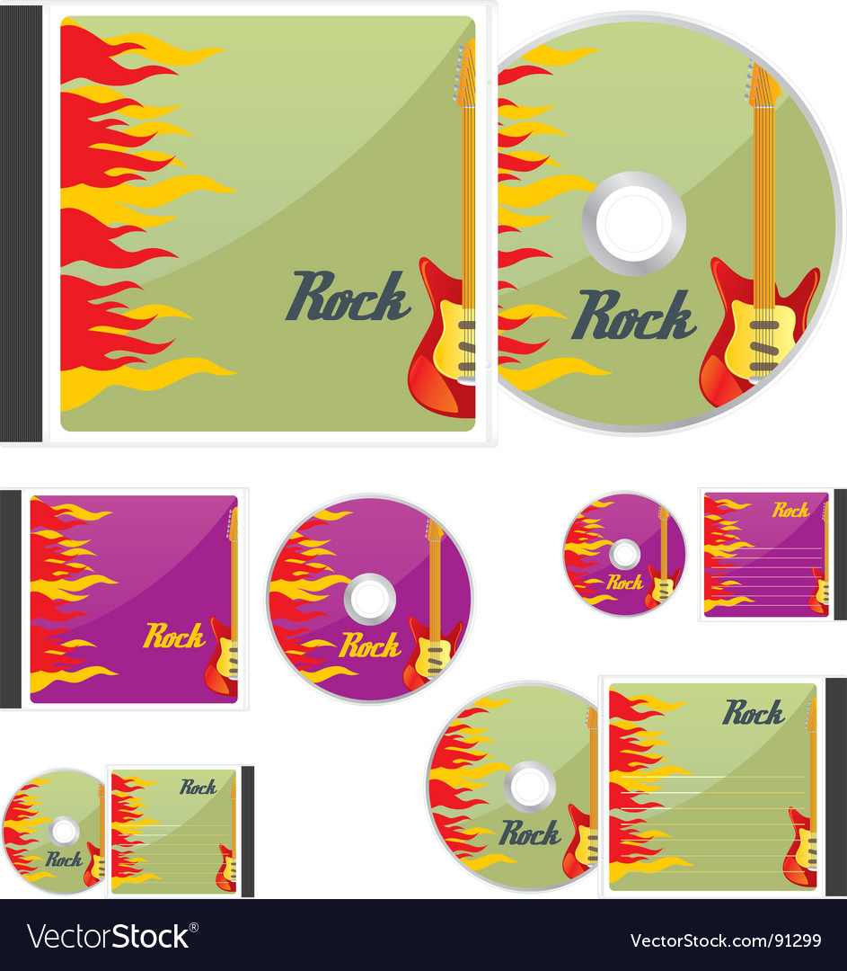 Compact disks with rock layout vector | Price: 1 Credit (USD $1)