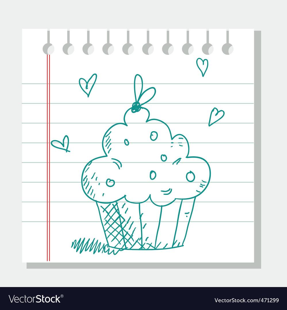 Cupcake sketch vector | Price: 1 Credit (USD $1)