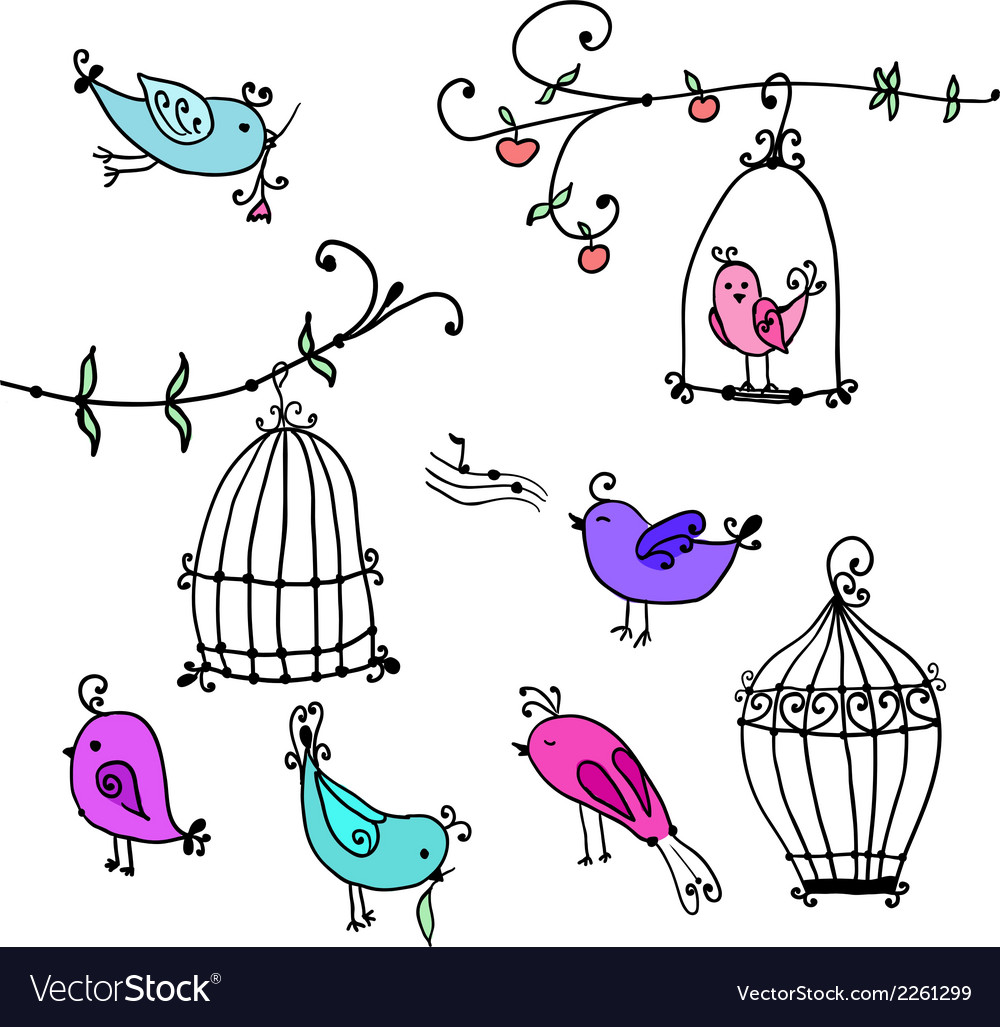 Cute birds and branches of trees with birds cages vector | Price: 1 Credit (USD $1)