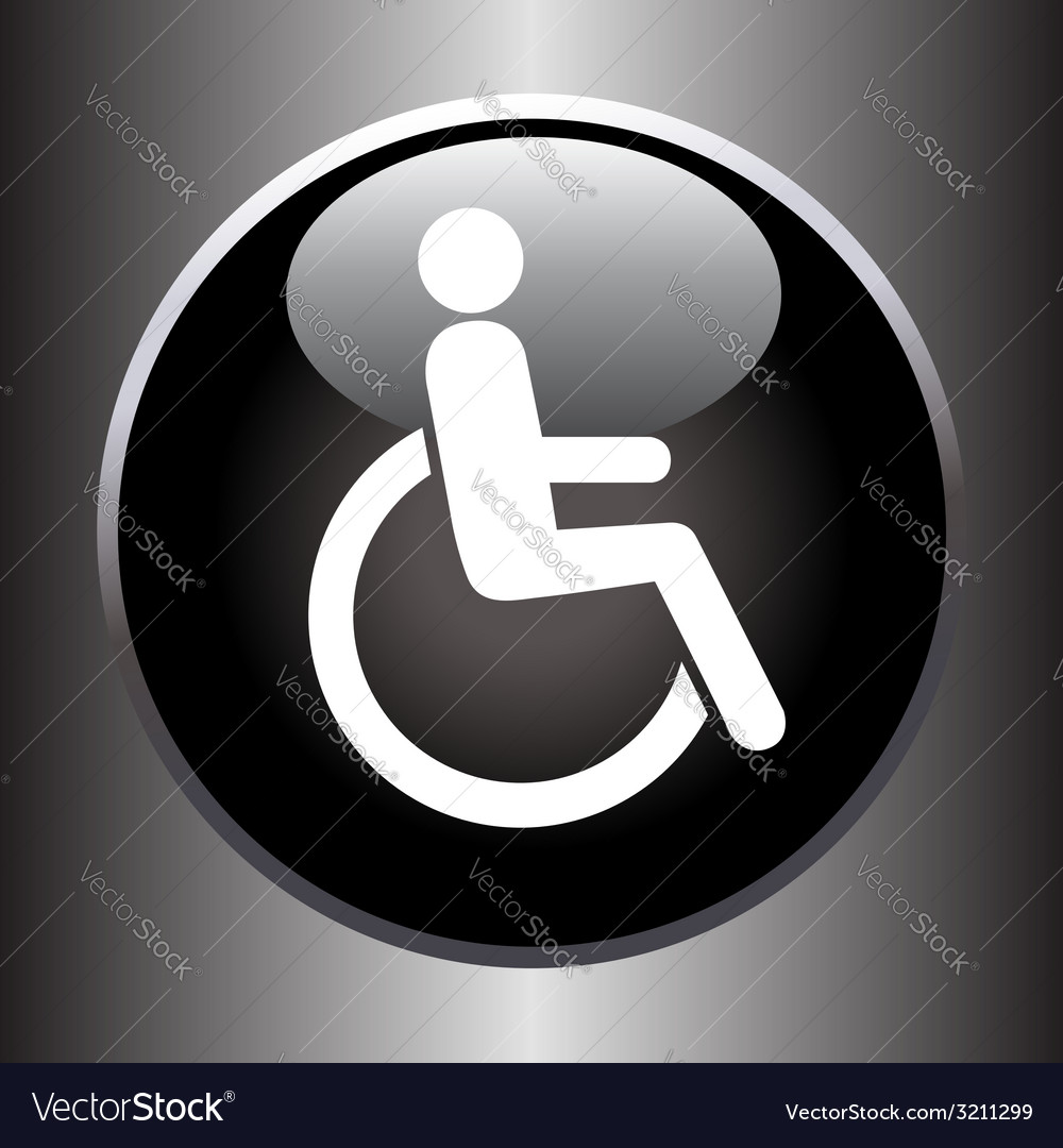 Disabled icon on black button vector | Price: 1 Credit (USD $1)