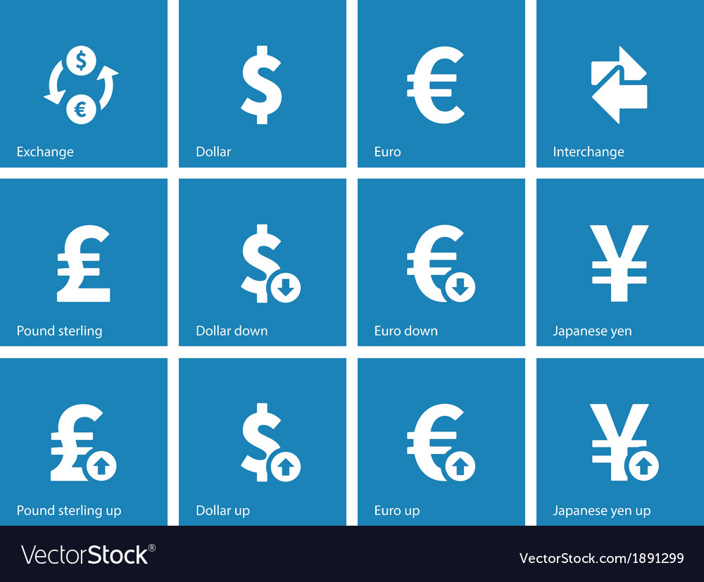Exchange rate icons on blue background vector | Price: 1 Credit (USD $1)