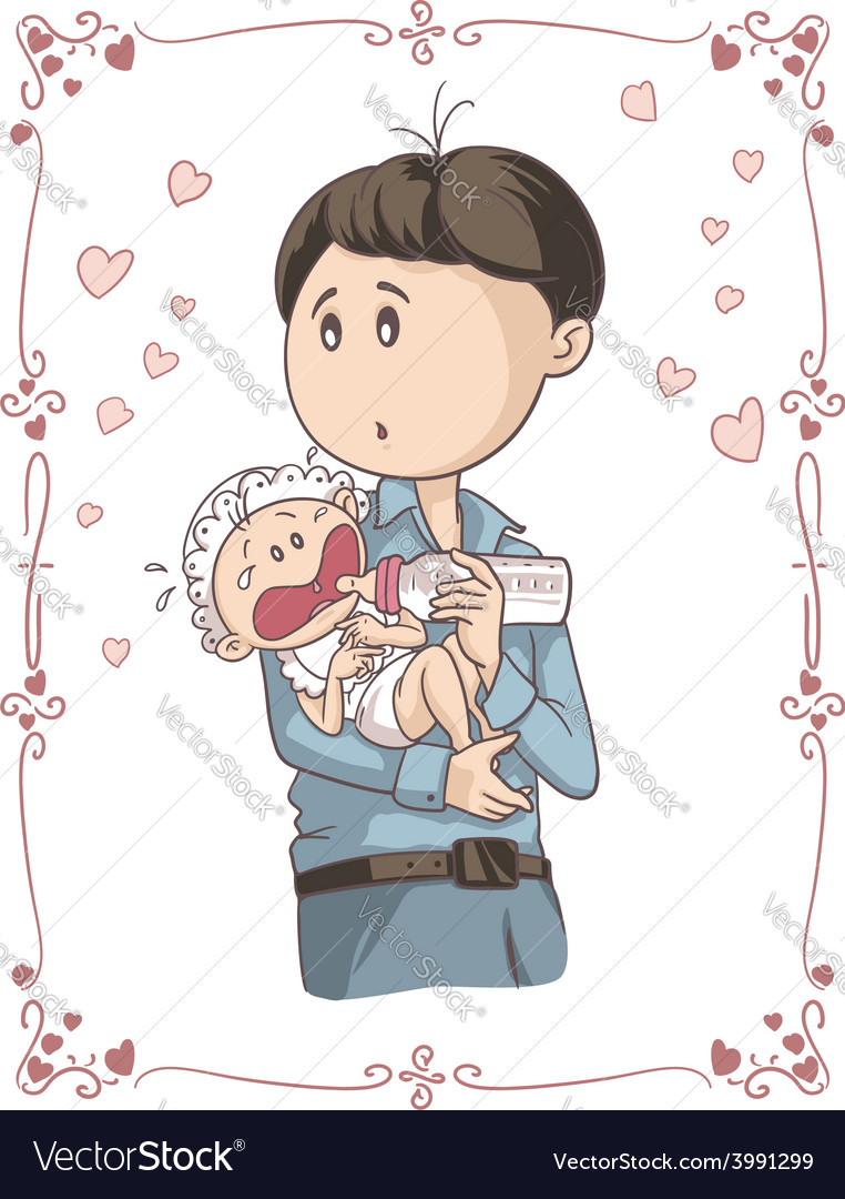 Father feeding crying baby cartoon vector | Price: 1 Credit (USD $1)