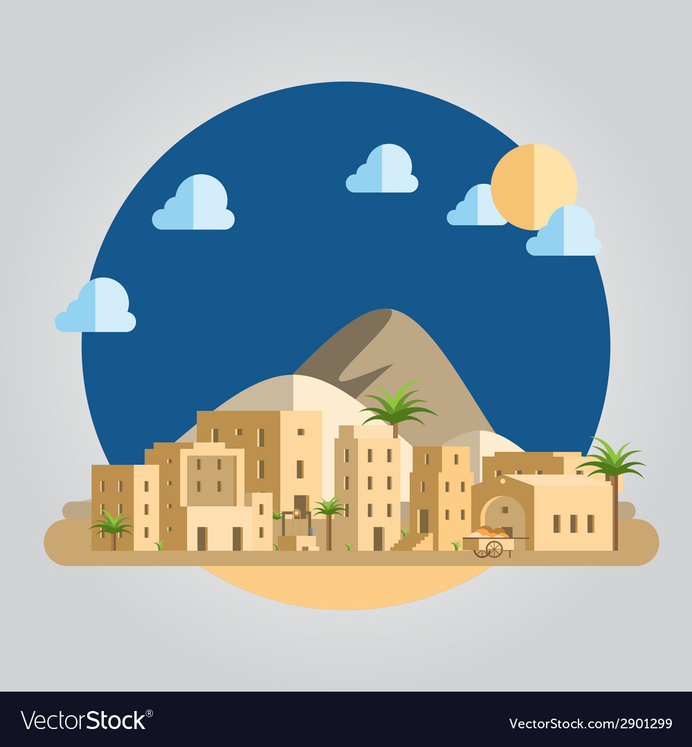 Flat design desert village vector | Price: 1 Credit (USD $1)